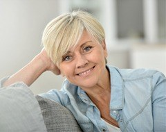 attractive older woman blonde hair smiling