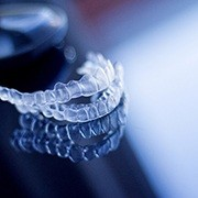 Invisalign aligners sitting on a table